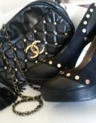 Buty czółenka czarne platformy szpilki ćwieki