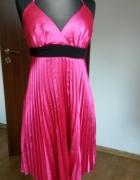 Sukienka plisowana różowa atłasowa satynowa EXTRA