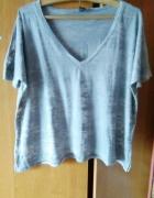 boho oversize bluzka serek dekolt koszulka tshirt