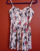 Kremowa sukienka chińska Hell Bunny rock