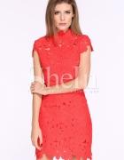 Sukienka Shein Czerwona Gipiura Koronka...