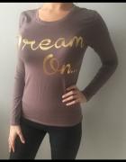 brązowa dzianinowa bluzka złote napisy dream on...