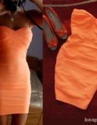 sukienka tally bandażowa morelowa