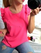 rozowa bluzka neonowa perełki