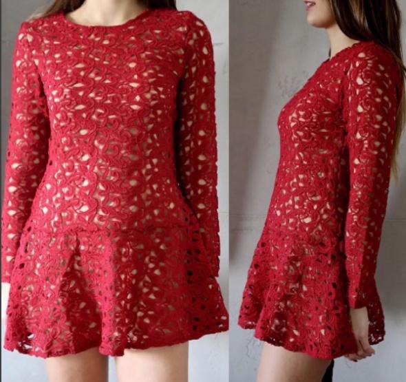 Czerwona koronkowa sukienka z cielistą podszewką...