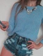 sweter sweterek Topshop pleciony niebieski błęk