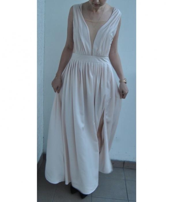 416535842c Długa sukienka styl Lena Lou kremowa na wesele w Suknie i sukienki ...