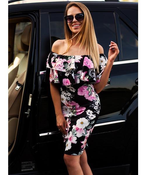 8f6fafa1a104af Suknie i sukienki Sukienka hiszpanka PROSTA Z FALBANKĄ czarna kwiaty
