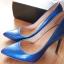 Lakierowane szpilki niebieskie bardzo eleganckie