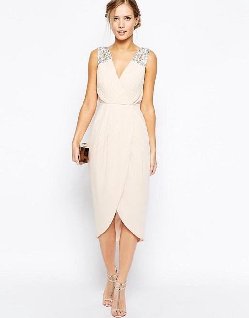 d57274bdad TFNC kremowa elegancka sukienka XS S w Suknie i sukienki - Szafa.pl