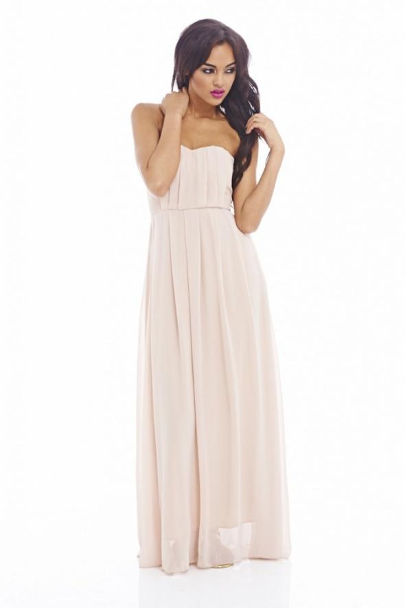 57d249c197 Suknie i sukienki Gorsetowa długa sukienka z szyfonu na wesele nude