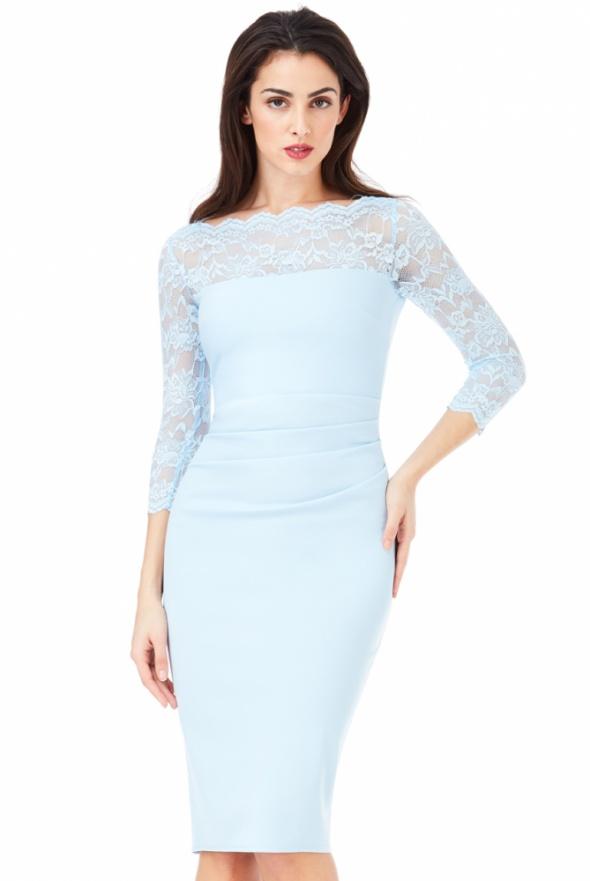 f3ab228a43 Elegancka błękitna sukienka midi wyszczuplająca w Suknie i sukienki ...