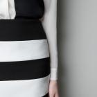 Spódnica Zara w paski biało czarna s