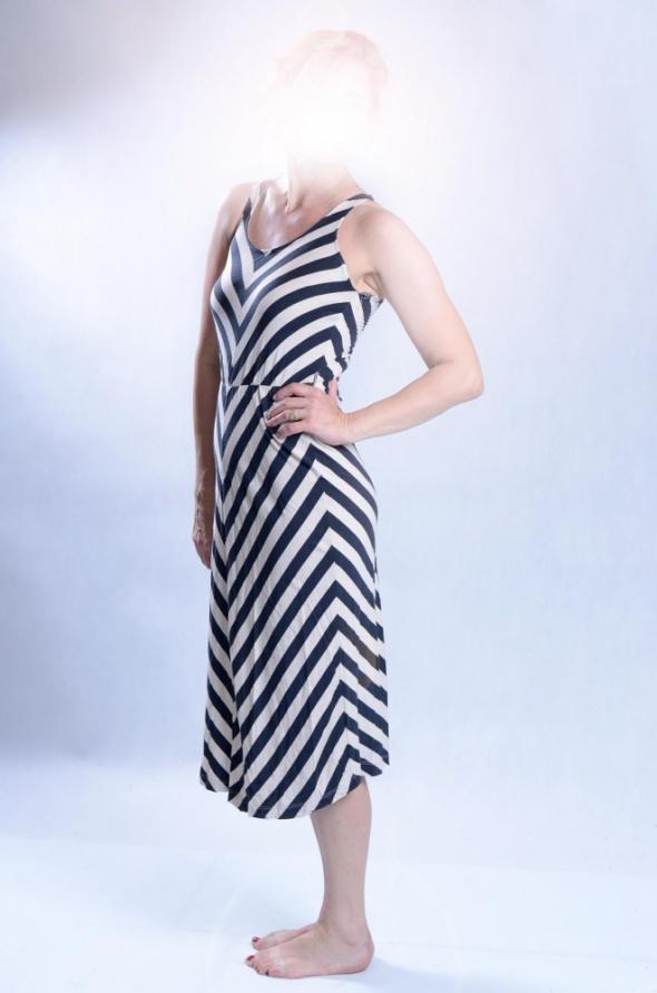 5183f264 letnia bawełniana sukienka w pasy do kolan w Suknie i sukienki ...