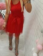 beauty red cudowna czerwona sukienka z tiulem