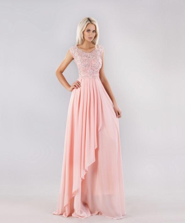 a3f74e72c470ff Suknie i sukienki Sukienka maxi długa róż diamenciki koronka szyfon