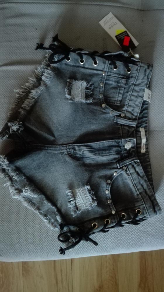 Spodenki Spodenki szorty jeansowe szare wiązane z boku