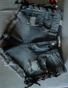 Spodenki szorty jeansowe szare wiązane z boku