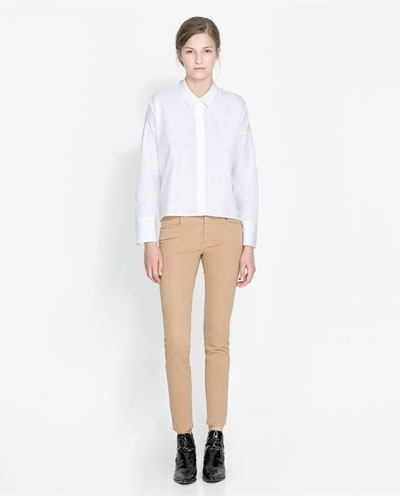 Spodnie zara cieliste xs s
