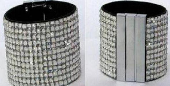 Poszukiwana szeroka bransoletka z kryształkami