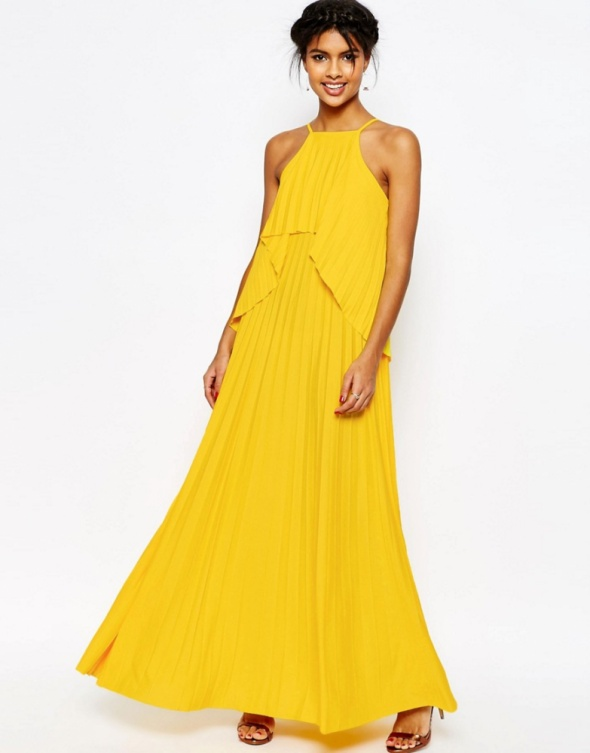 43a001b3d8 Asos maxi żółta sukienka falbany w Suknie i sukienki - Szafa.pl
