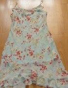 sukienka Floral blekitna kwiaty retro vintage...