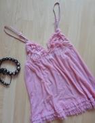 koszulka różowa z falbankami OYSHO S