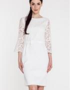 Biała sukienka z gipurowym rękawkiem