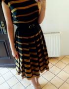 Piękna złoto czarna sukienka na wesele i nie tylko