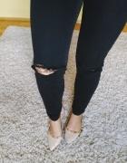Pull&bear rurki jeansy czarne z dziurami S