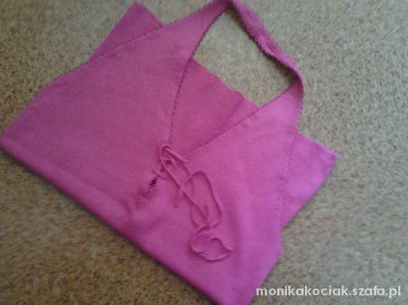 Top bluzka top różowa na szje zakladana