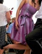 Sukienka bombka różowa z kokardą rozm S