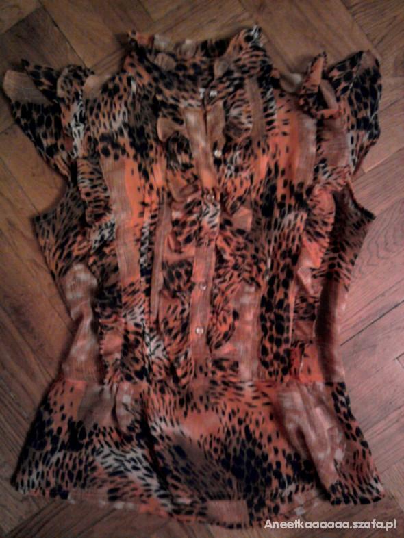 Bluzki Śliczna zwiewna bluzka w panterkę