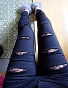 Spodnie rurki podarte koronka...