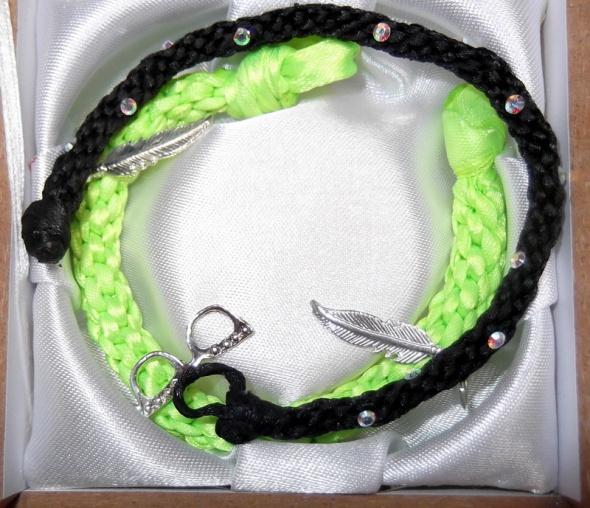 Bransoletki bransoletki neonowa zieleń czerń posrebrzane