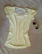 koronkowa żółta bluzka na lato z kokardką