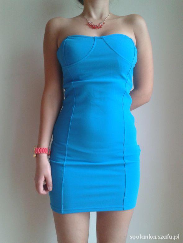 Suknie i sukienki Sukienka new yorker 36 34 kobaliowa tuba bandażowa