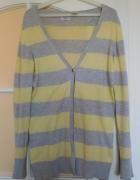 Kardigan sweterek rozpinany w paski 40 długi baweł