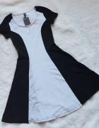 Biało czarna sukienka HM colorblock