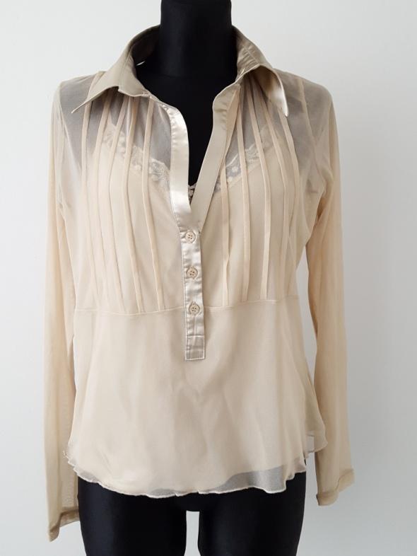 Bluzki Beżowa bluzka z tiulu Apart