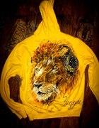 Ręcznie malowana bluza z kapturem lew reggae...
