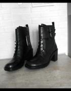 Zara nowe botki worker boots skóra 37 sznurowane
