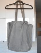 Zara szara zamszowa torba shopper bag XL...