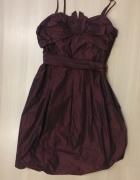 satynowa sukienka bombka fioletowa rozm 38