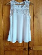 Biała tunika ażurkowo tiulowa rozmiar M
