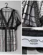 Sukienka we wzory i koraliki szara...