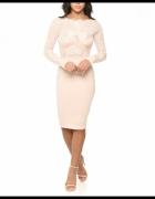 Koronkowa ołówkowa sukienka midi z siateczką...