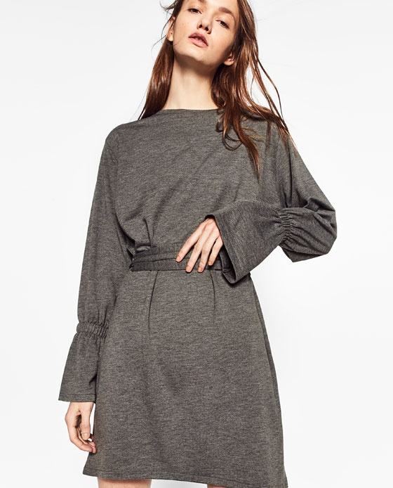 6410c10bff Suknie i sukienki nowa ZARA sukienka dresowa szara rozszerzony rękaw