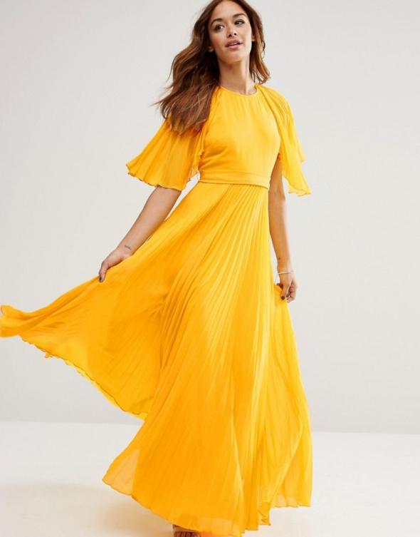 sukienka żółta plisowana zara
