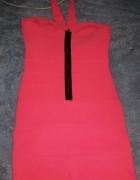 Sukienka Neon S Bandażowa Różowa
